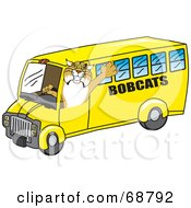 Bobcat Character Driving A School Bus