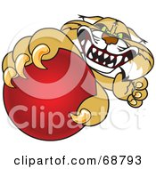 Royalty Free RF Clipart Illustration Of A Bobcat Character Grabbing A Red Ball by Toons4Biz