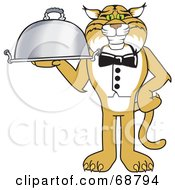 Royalty Free RF Clipart Illustration Of A Bobcat Character Serving A Platter by Toons4Biz