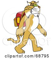 Royalty Free RF Clipart Illustration Of A Bobcat Character Walking To School by Toons4Biz