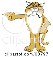 Royalty Free RF Clipart Illustration Of A Bobcat Character Pointing Left by Toons4Biz