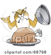 Royalty Free RF Clipart Illustration Of A Bobcat Character Serving A Turkey by Toons4Biz