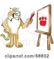 Royalty Free RF Clipart Illustration Of A Bobcat Character Painting A Paw Print by Toons4Biz