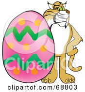 Royalty Free RF Clipart Illustration Of A Bobcat Character With An Easter Egg by Toons4Biz