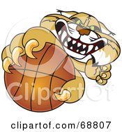 Royalty Free RF Clipart Illustration Of A Bobcat Character Grabbing A Basketball by Toons4Biz
