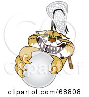 Royalty Free RF Clipart Illustration Of A Bobcat Character Grabbing A Lacrosse Ball by Toons4Biz