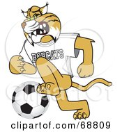 Royalty Free RF Clipart Illustration Of A Bobcat Character Playing Soccer by Toons4Biz