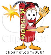 Clipart Picture Of A Red Dynamite Mascot Cartoon Character Waving And Pointing
