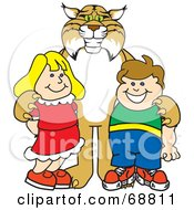 Royalty Free RF Clipart Illustration Of A Bobcat Character With Students by Toons4Biz