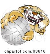 Bobcat Character Grabbing A Volleyball
