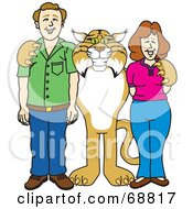 Royalty Free RF Clipart Illustration Of A Bobcat Character With Teachers Or Parents by Toons4Biz