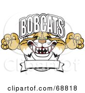 Royalty Free RF Clipart Illustration Of A Bobcat Character School Logo With A Banner by Toons4Biz