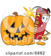 Dynamite Mascot Cartoon Character With A Halloween Pumpkin