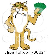 Royalty Free RF Clipart Illustration Of A Bobcat Character Holding Cash by Toons4Biz