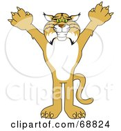 Royalty Free RF Clipart Illustration Of A Bobcat Character Reaching Out by Toons4Biz