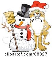 Royalty Free RF Clipart Illustration Of A Bobcat Character With A Snowman