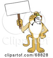 Bobcat Character Holding A Sign