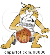 Royalty Free RF Clipart Illustration Of A Bobcat Character Playing Basketball by Toons4Biz