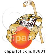 Royalty Free RF Clipart Illustration Of A Bobcat Character Grabbing A Hockey Ball by Toons4Biz