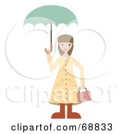 Royalty Free RF Clipart Illustration Of A Little Girl Carrying A Lunch Box And An Umbrella