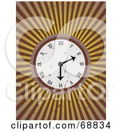 Royalty Free RF Clipart Illustration Of A Grungy Wall Clock Over A Bursting Brown Background by mheld