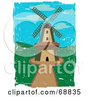 Royalty Free RF Clipart Illustration Of A Windmill In A Green Landscape With Grunge Scratches by mheld