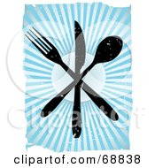Royalty Free RF Clipart Illustration Of Black Grungy Silverware Over A Bursting Blue Background