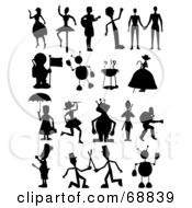 Royalty Free RF Clipart Illustration Of A Digital Collage Of Black Dancer Couple Astronaut Robot Bbq Alien And Chef Silhouettes by mheld