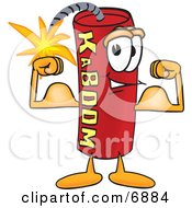 Clipart Picture Of A Red Dynamite Mascot Cartoon Character Flexing His Arm Muscles