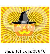 Halloween Pumpkin Wearing A Witch Hat On A Bursting Yellow Background