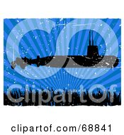 Grungy Submarine On A Bursting Blue Sea Background by mheld