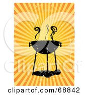 Royalty Free RF Clipart Illustration Of A Grungy Black Barbeque With Smoke Over A Bursting Background by mheld