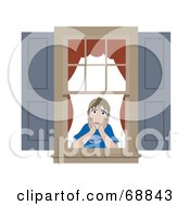 Royalty Free RF Clipart Illustration Of A Lonely Boy Gazing Out Of His Bedroom Window