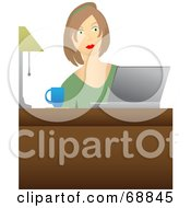 Royalty Free RF Clipart Illustration Of A Lady With A Cup Of Coffee Seated In Front Of A Laptop