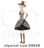 Royalty Free RF Clipart Illustration Of A Steampunk Woman In A Skirt by mheld