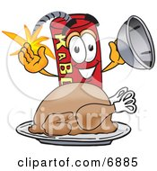 Clipart Picture Of A Red Dynamite Mascot Cartoon Character With A Thanksgiving Turkey On A Platter