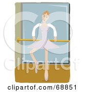Royalty Free RF Clipart Illustration Of A Ballerina Dancing At A Bar In A Dance Studio by mheld