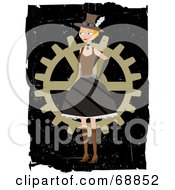Royalty Free RF Clipart Illustration Of A Steampunk Woman Standing In Front Of A Wheel by mheld