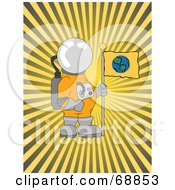 Royalty Free RF Clipart Illustration Of An Astronaut With An Earth Flag Over A Bursting Yellow Background