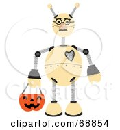 Royalty Free RF Clipart Illustration Of A Springy Robot Trick Or Treating On Halloween by mheld