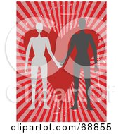 Royalty Free RF Clipart Illustration Of A Couple Holding Hands In Front Of A Heart And A Red Bursting Background by mheld