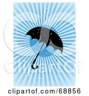 Royalty Free RF Clipart Illustration Of A Grungy Umbrella On A Bursting Blue Background by mheld