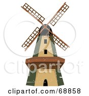 Royalty Free RF Clipart Illustration Of A Green And Brown Windmill With Grunge Scratches by mheld