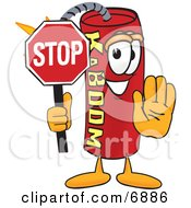 Dynamite Mascot Cartoon Character Holding A Stop Sign