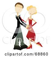 Royalty Free RF Clipart Illustration Of A Caucasian Couple Dancing Together by mheld