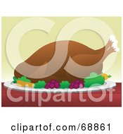 Royalty Free RF Clipart Illustration Of A Roasted Turkey Served On A Plate With Vegetables