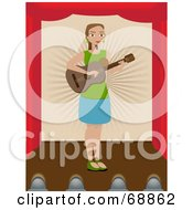 Royalty Free RF Clipart Illustration Of A Woman Playing A Guitar On A Stage by mheld
