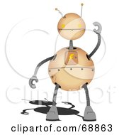 Royalty Free RF Clipart Illustration Of A Springy Brown Robot Holding One Arm Up by mheld