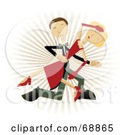 Royalty Free RF Clipart Illustration Of A Caucasian Couple Dancing The Man Dipping The Lady Over A Burst Background by mheld