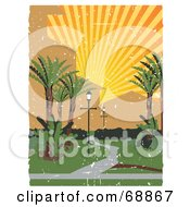 Royalty Free RF Clipart Illustration Of A Grungy Pathway Through A Park Under A Sun Burst